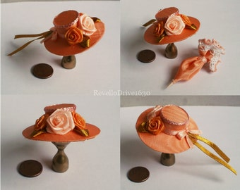 Elegant Lady's Hat, orange, dollhouse miniature 1/12