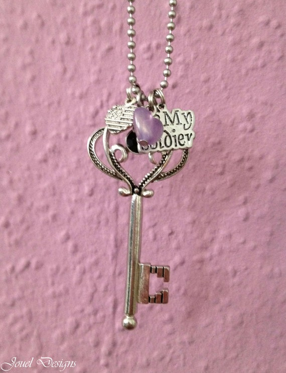 "Handmade ""Key to my Heart"" Necklace - Charm Necklace, Charm Jewelry, Love Necklace, Love Jewelry, Love Pendant, I love my soldier Necklace"