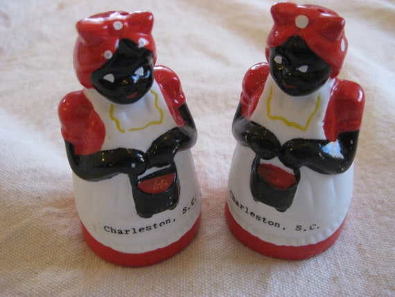 Americana Black Salt n Pepper Shakers Ceramic Aunt Jamimas