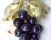 RESERVED Vintage BOUCHER Purple Grape Cluster Brooch Pin Numbered