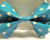blue and white duct tape bow