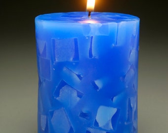 Blue Mosaic Pillar Candle