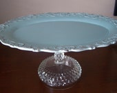 Blue cupcake stand/ pastry stand/ appetizer tray/ Cake Stand with vintage glass pedestal: oval