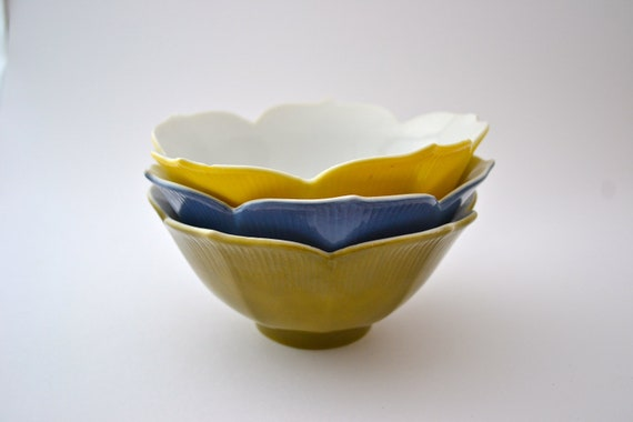 3 Vintage Petal Bowls--Yellow, Blue, and Green