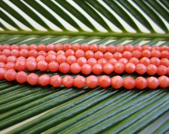 Natural Orange Coral Beads - Faceted Rounds 4mm - Full Strand - 16""