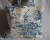 Gorgeous Traditional French TOILE design Fabric TOTE BAG - hand made in France