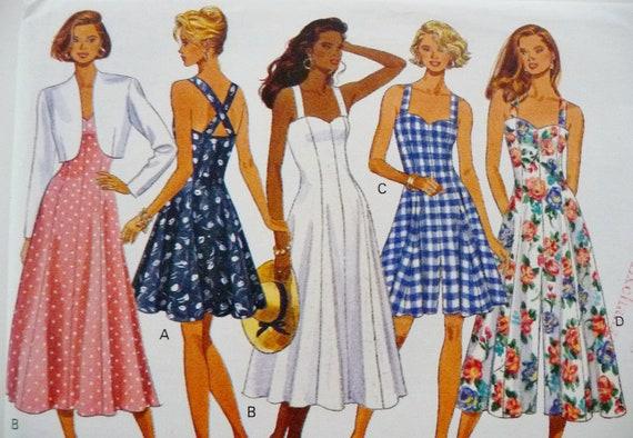 Vintage Crossed Back Strap Dress Sewing Pattern Butterick 6213 Sizes 6-12 1990s UNCUT