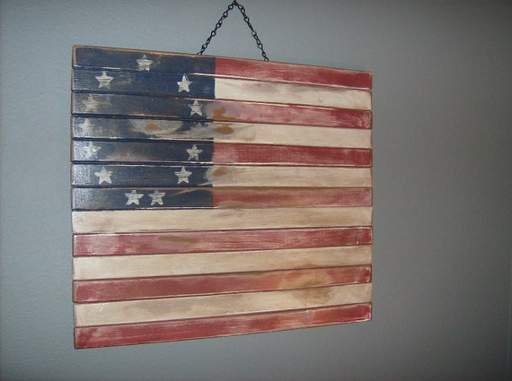 Wood Slat Distressed American Flag Wall Decor