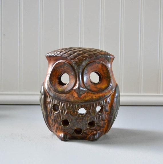 Vintage Brown Owl Candle Holder - Stoneware Lantern