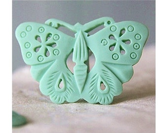 6pcs of resin filigree butterfly-50x35mm Rc0242-blue