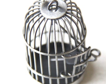 6 pcs Of metal bird cage pendant 28x28x35mm-MP1009-antique silver