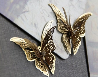 2 pcs of brass 3 layer butterfly filigree charm pendant-41x38x8mm-1569-raw brass