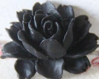 6 pcs of resin smaller size big rose cabochon-23x18x9mmRC0026-33- black