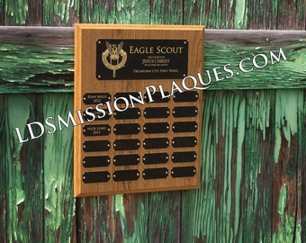 Laser Engraved Eagle Scout Award Perpetual Plaque - 24 Plates