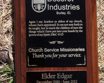 Laser Engraved Cherry Finish Personalized Plaque