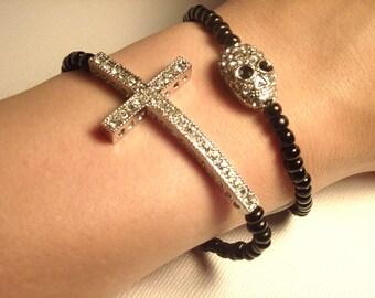 Silver Rhinestone Sideways Cross and Skull Black Layered Bracelet Set