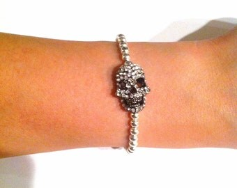 Silver Rhinestone Skull Bracelet