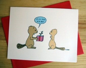 Love Greeting Card: Beaver Cartoon