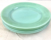 "Set of four JADEITE  FIRE KING plates. 9"" Heavy weight and oven safe. Aqua, Seafoam, Green, Dinnerware, wedding present, gift"