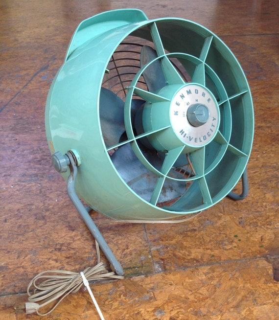 Aqua Seafoam Blue Green Mint 1950's 1960's Retro Vintage Kenmore Floor Fan, Mad Men Home