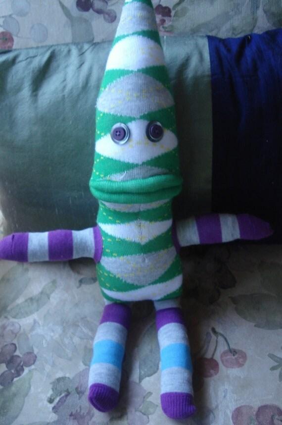Sock Funky Sock Doll - Green Argyle