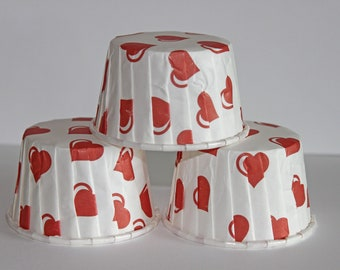 24 Hearts  baking cups, candy cups, nut cups, cupcake liners, treat favors Valentines day