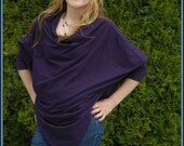 Ladies Purple Poncho Top, Long Sleeve,Sweater, Unique Styling, Cotton Jersey