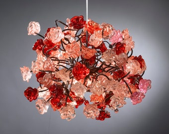 Red and pink roses pendant light for hall, children room, bedroom, as a kitchen island lighting.