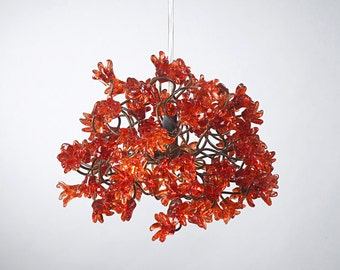 Romantic Ceiling Lights with Red jumping flowers for hall or bedside lamp.