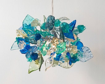 Sea color flowers and leaves Ceiling Lamp for hall, bedroom or kitchen island lighting, pendant light