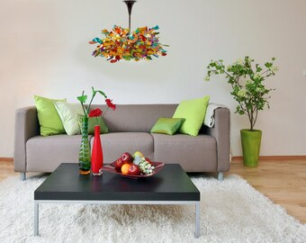 Hanging Chandeliers with Colorful flowers and leaves for living room, a unique and modern lighting