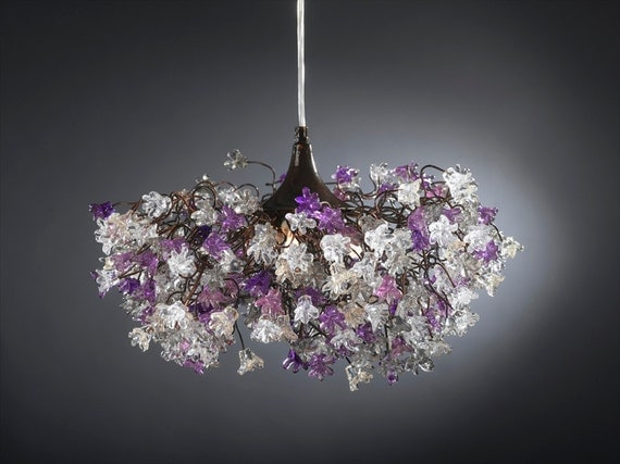 Hanging lamp with Purple, Gray and clear flowers  for dinning room, living room or bedroom.