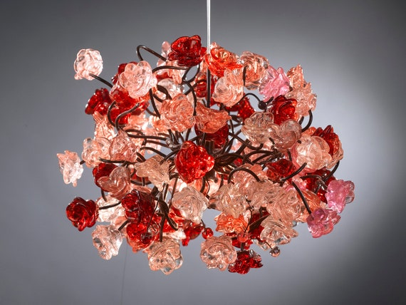 Red roses pendant light  for hall, children room, bedroom, as a kitchen island lighting.