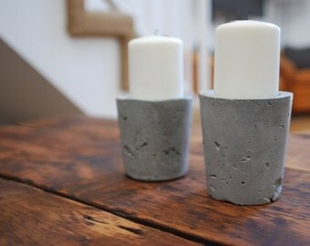 Concrete Candle Holder - Pillar Candle Holder - Set of 2 -  Alter Candle -  Industrial Decor