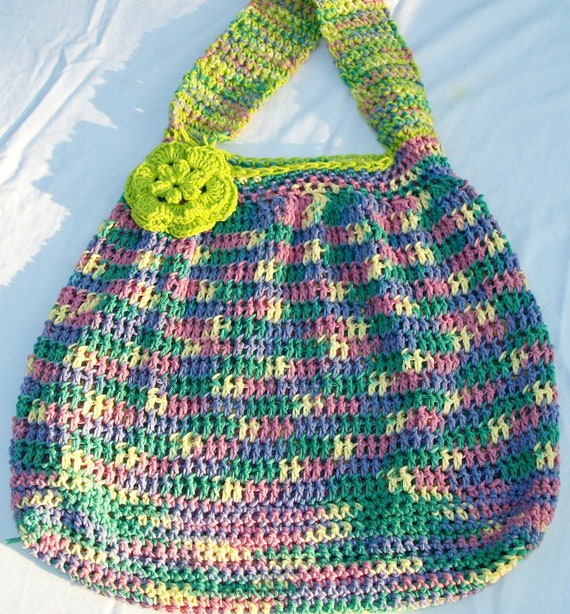Cotton Candy - Crochet bag Hobo style-reusable market, grocery or beach bag , multi colored lime green trim, 100% washable cotton yarn