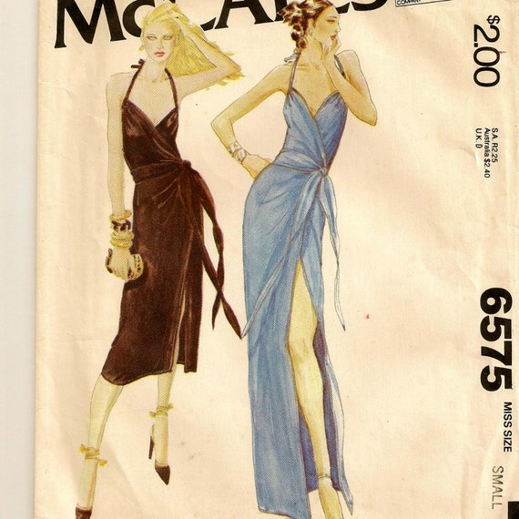 "Vintage Evening Wrap Dress Pattern - Size Small (10-12), Bust 32-1/2"" - 34"""