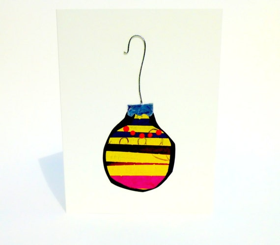 Colorful Christmas Card with a Glass Ball Ornament Design-  Blank OOAK Hand Painted in Yellow and Black with Silver Cap and Hook