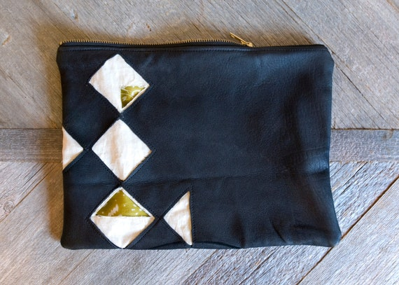 Leather clutch, Quilt diamond pattern with green floral silk lining