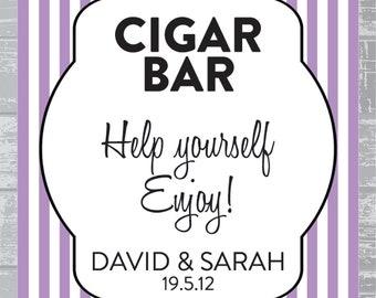 Custom Stripe Modern Cigar Bar Sign DIY Wedding Poster Printable