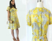 Vintage 1960s Dress/  lemon yellow and gray floral belted pleated dress