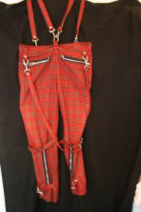 Vintage 1980's Overall Plaid Pants Men's