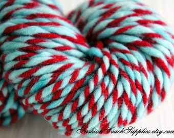Christmas Tradition, Hand Dyed Yarn Hand Plyed Yarn in Turquiose and Red, 2 ply yarn 46 yrds 036
