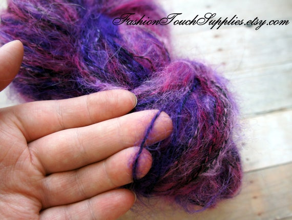 Mohair Yarn Hand Painted and Handspun in Deep Purple 218 yrds 002