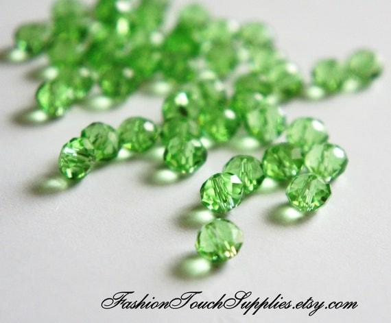 Glass Beads, Bead, Supplies, Czech glass Soft Green  czech glass faceted beads Rondelle  oval - 25