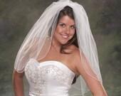 Light Ivory Wedding Veils Waist Length Veils 2 Tier Pencil Edge Veils 30 Inch Long Bridal Veils 2 Layer White Veils Elbow Length Off White
