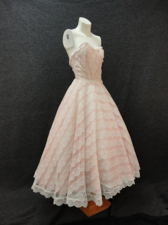50s dress vintage 1950s light pink and white lace for Pink vintage wedding dress