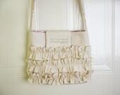 Romantic Cross-body bag / ruffle bag / canvas purse / handbag