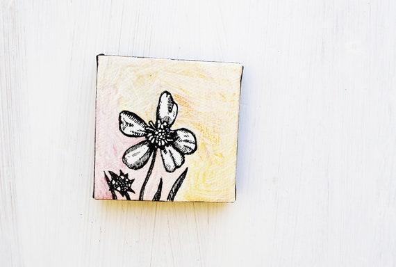SALE: Wildflower - Original Painting.    Nursery Art.  Cute.  Tiny.