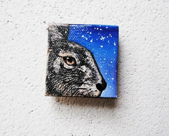 Galaxy Hare - Original Painting - 2x2 Indigo Blue.  Space.  Rabbit.  Bunny.  Hare.  Illustration.  Wall Art.  Home Decor.  Tiny Art. Nature.