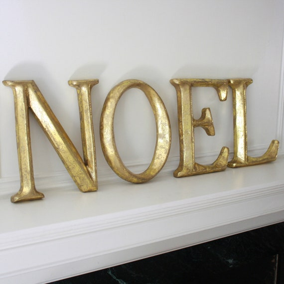Noel decorative gold letters christmas holiday decor for Decoration 9 letters
